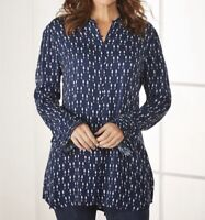 Size Medium M Soft Surroundings Navy Button Up Poet Tunic Top Shirt Blouse New
