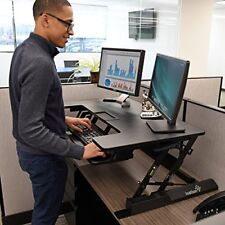 "Ivation 36"" Height-Adjustable Sit-to-Stand Desk with Dual Surfaces Sized & Posit"