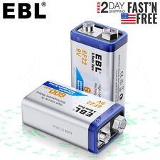 2 Pack EBL 9 Volt 600mAh 6F22 Li-ion Rechargeable Batteries for GPS Alarm Radio