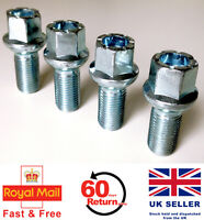 4 x Alloy wheel bolts. M14 x 1.5 Radius Seat 27mm Thread Length for VW