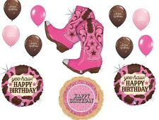 12pc COW GIRL party BALLOONS new  BIRTHDAY pink COWBOY BOOTS favors RODEO horse