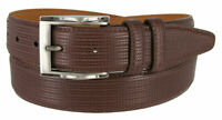 "1233 Men's Embossed Leather Dress Belt 1 3/8"" Wide - Made In USA - BROWN"
