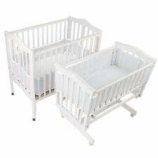 BreathableBaby Breathable Bumper for Portable and Cradle Cribs, White , New, Fre