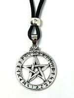 Pentacle Rune Pendant Elder Runes Pewter Pagan Beaded Corded Necklace Jewellery