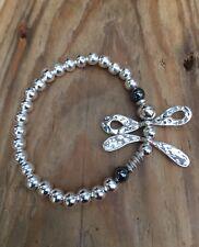silver ball stretch bracelet Elasticated Dragonfly Hematite