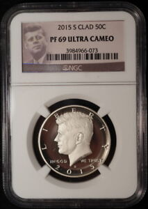 2015 S Kennedy Clad Proof Half Dollar ~ NGC Proof 69 Ultra Cameo Brown Label