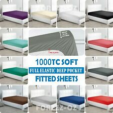 1000TC Full Elastic Deep Fitted Sheet Single/KS/Double/Queen/King/SuperKing Bed