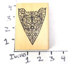 Wooden RUBBER STAMP Block Flower Heart Border Texture Frame by Stampers Anonymou