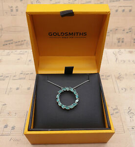 Platinum & 925 Sterling Silver Genuine Zambian Emerald Pendant Necklace with Box