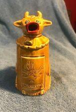 "Vintage 6.5"" Tall Ceramic Gold Cow Creamer Pitcher Japan Farm House"