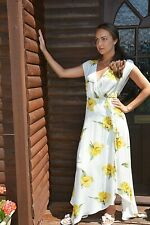 New Women Ex Warehouse Yellow Floral Print Wrap Front Lined Midi Dress Size 6-18