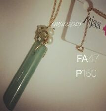 FA47 Long Chain Statement Necklace w/ Simulated Jade - Gift Ideas