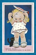 """1938 MABEL LUCIE ATTWELL PC GIRL & BLACK CAT """"TOUCH WOOD"""""""