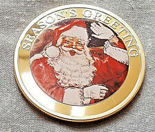 Gold Merry Christmas Santa Claus Coin Xmas Card Gift Present Seaons Greetings UK