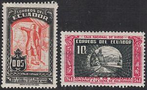 1948 Ecuador SC# 514-515 - Maldonado and Map - Riobamba Aqueduct - M-H