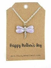 Happy Mother's Day Purple Enamel Dragonfly Silver Necklace Message Card New