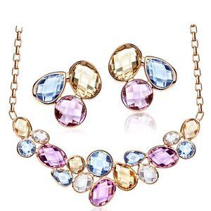 Multi colored Jewellery Set Austria Crystals Nude Pink Necklace Stud Earrings