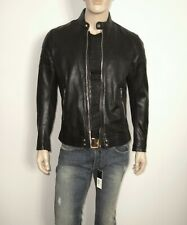 $698 Diesel L-TOD Leather Jacket BLACK Size LARGE SLIM 100% Sheepskin Leather