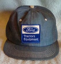 VTG Ford Tractors Equipment Farm Ag Patch Snapback Hat Blue Denim USA Made FS!