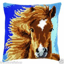 Cavallo Marrone Tacco Cross Stitch Cuscino ANTERIORE KIT 40x40cm Vervaco