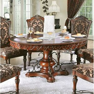 Furniture of America Eleanora Round Pedestal Dining Table in Brown Cherry