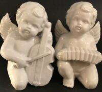 CHERUB ANGEL FIGURINES PLAYING INSTRUMENTS PORCELAIN SET OF 2 VINTAGE 6 INCH