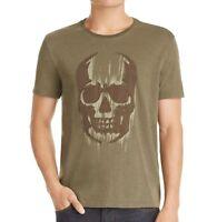 John Varvatos Star USA Men's Faded Skull Applique Graphic Crew T-Shirt Olive