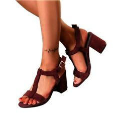 Black Womens Open Toe Buckle Mid Heels T-strap Chunky Roman Sandals Casual Shoes