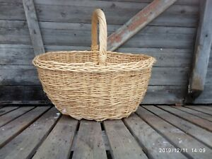 Vintage wicker basket to collect mushrooms from bast handmade