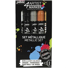 Pebeo 4Artist Marker Oil Based Glossy Permanent Paint Pen 4mm Pack of 5 Metallic