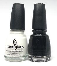 china glaze nail polish White Out 545 + Liquid Leather 544 True Black & White