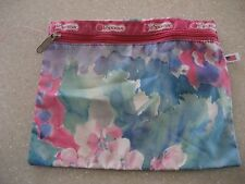 """LeSportsac Floral Cosmetic Make Up Bag Pencil Case Clutch 10 x 7.7"""" Made in USA"""