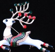 RED GREEN WHITE CHRISTMAS SLEIGH JUMPING ELK DEER FLYING REINDEER PIN JEWELRY 2""