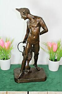Vintage Bronze art deco Statue dog trainer Figurine after Bayre