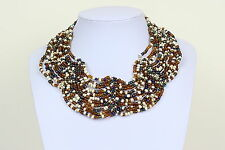 Collar de varios cuello de color marrón azul blanco Cleopatra Estilo Babero Gargantilla DB02