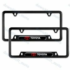For 2PCS TOYOTA Black Stainless Steel Metal License Plate Frame New
