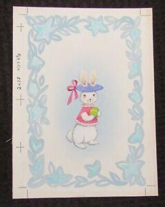 "EASTER Bunny Rabbit w/ Purple Hat & Pink Shirt 8x10.5"" Greeting Card Art #2438"