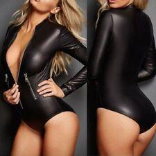 NEW Women Faux Leather Catsuit Bodysuit Jumpsuit Bodycon Costume Gothic Clubwear