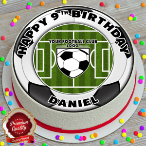 YOUR FOOTBALL TEAM LOGO BIRTHDAY PERSONALISED 7.5 INCH EDIBLE CAKE TOPPER C-226G