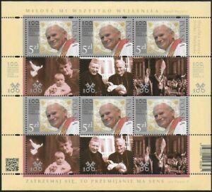 Foglietto POLONIA Papa Giovanni Paolo II 2020 100 nascita congiunta con Vaticano