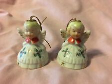 Vintage Christmas JAPAN Trio LOT 2 Angel Bell Ornaments Holly Dress