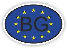 OVAL EUROPEAN UNION FLAG WITH BG BULGARIA COUNTRY CODE STICKER MOTO AUTO LAPTOP