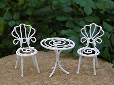 Miniature Dollhouse FAIRY GARDEN ~ TINY White Metal Bistro Table & Chairs ~ NEW