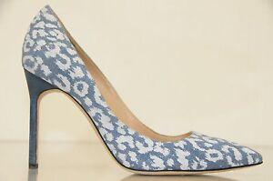 New Manolo Blahnik BB 105 Blue Denim White Printed Leopard Shoes Pumps Heels 37
