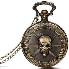 Vintage Gothic Skull Pendant Necklace Bronze Tone Pocket Watch Halloween Gift
