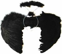 Feather Black Dark Angel Fairy Wings and Halo Halloween Fancy Dress Gothic Set