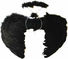 BLACK ANGEL FAIRY WINGS AND HALO DARK ANGEL FANCY DRESS HALLOWEEN COSTUME GOTHIC