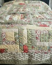 Pottery Barn Multicolor Patchwork Quilt Cal King & 3 Euro Shams
