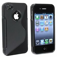 New Black S Shape Line Hard TPU Candy Case Cover For Apple iPhone 4 4G 4S
