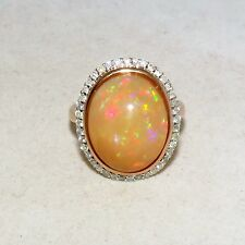 14K Rose Gold and 8.64 Carat OPAL Ring w/ Diamonds & $3,955 App.  (6g, size 7.5)